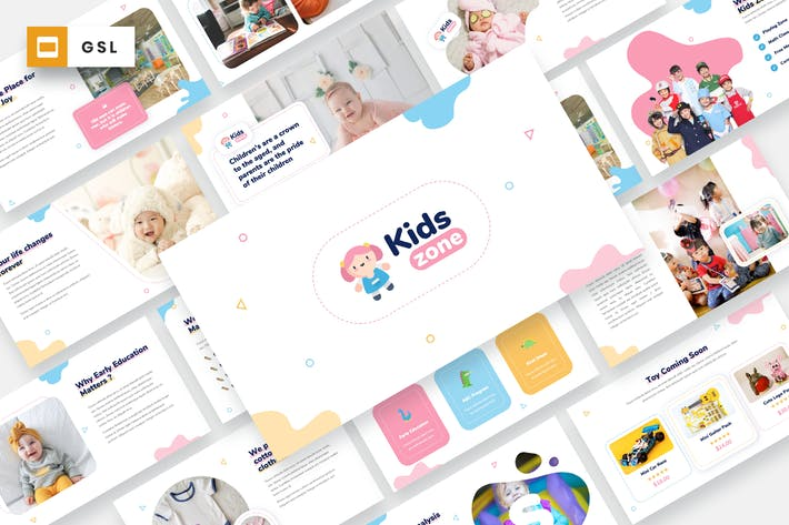 Thumbnail for Детская зона - Дети и ребенок Google слайды Шаблон