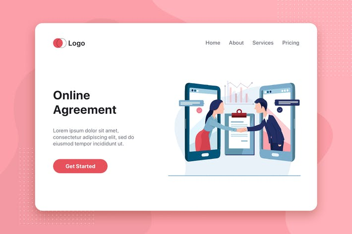 Thumbnail for Online Agreement flat concept for Landing page