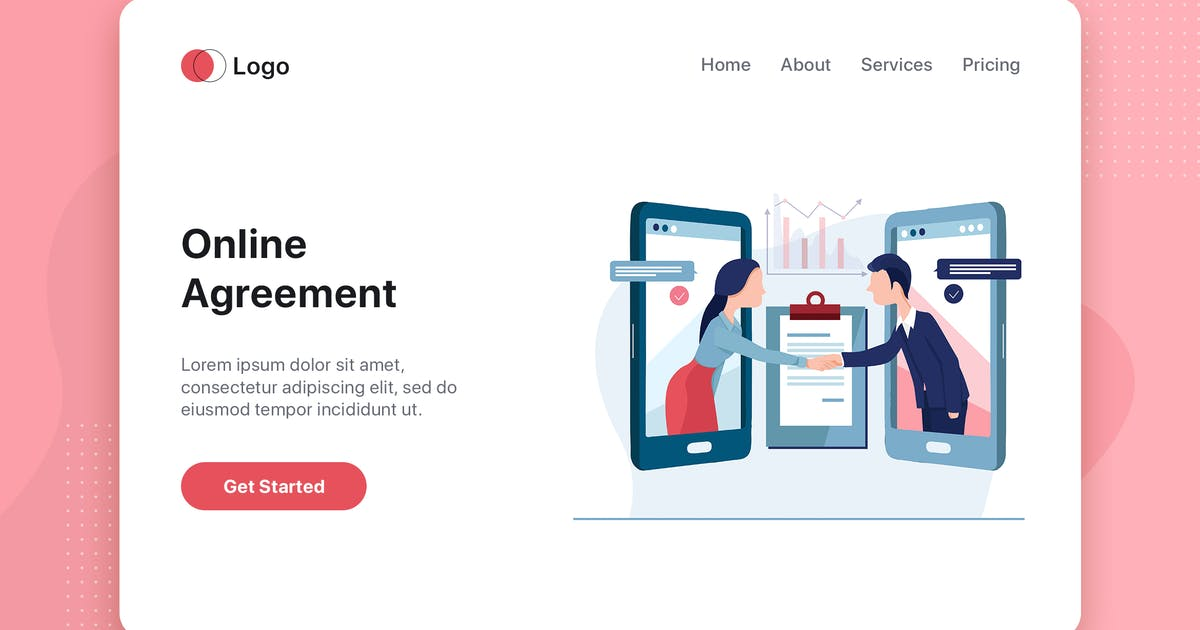 Download Online Agreement flat concept for Landing page by hoangpts