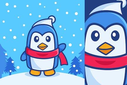Cute Waving Penguin in Winter Season