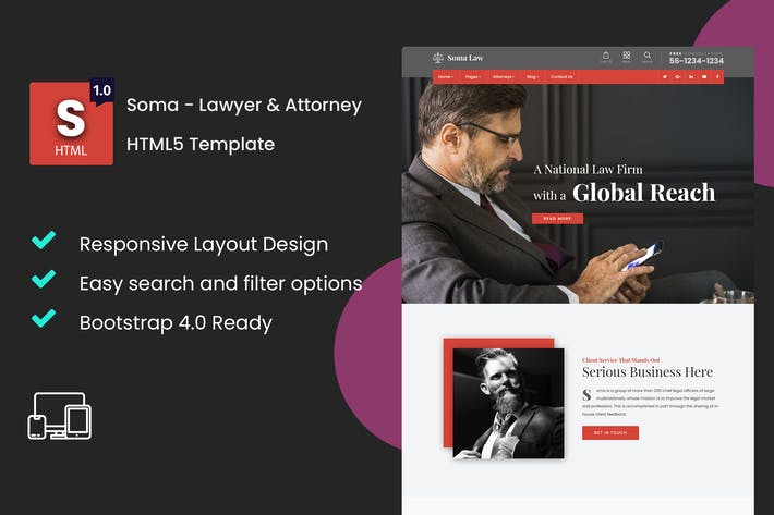 Thumbnail for Soma - Lawyer & Attorney HTML5 Template