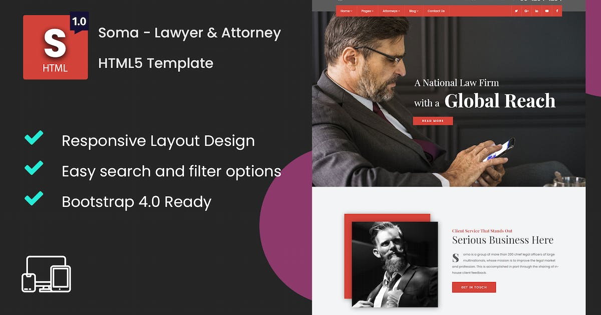 Download Soma - Lawyer & Attorney HTML5 Template by Nile-Theme