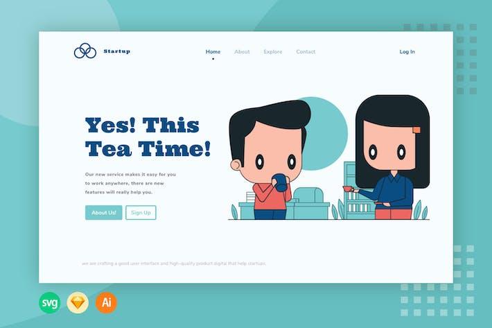 Tea Time Website Header - Illustration