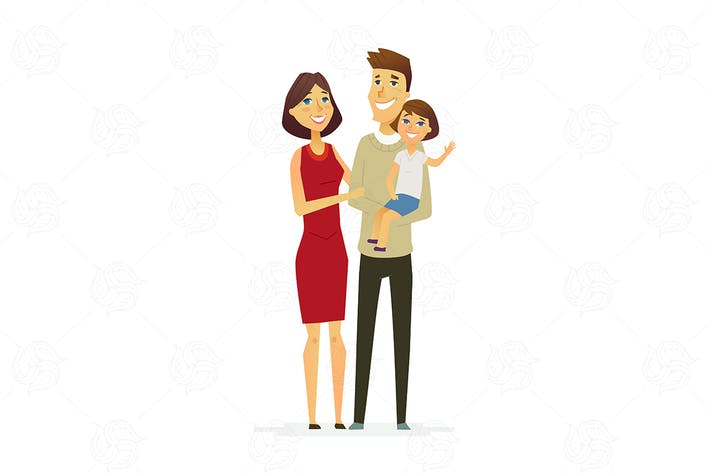 Family - colored modern flat illustration
