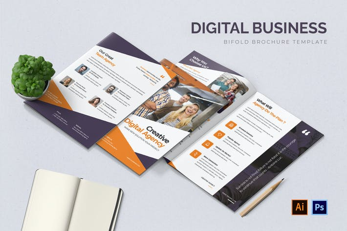 Thumbnail for Digital Business Bifold Brochure