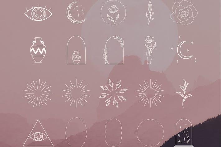 Thumbnail for Éléments décoratifs blancs, cadres, coups de soleil.