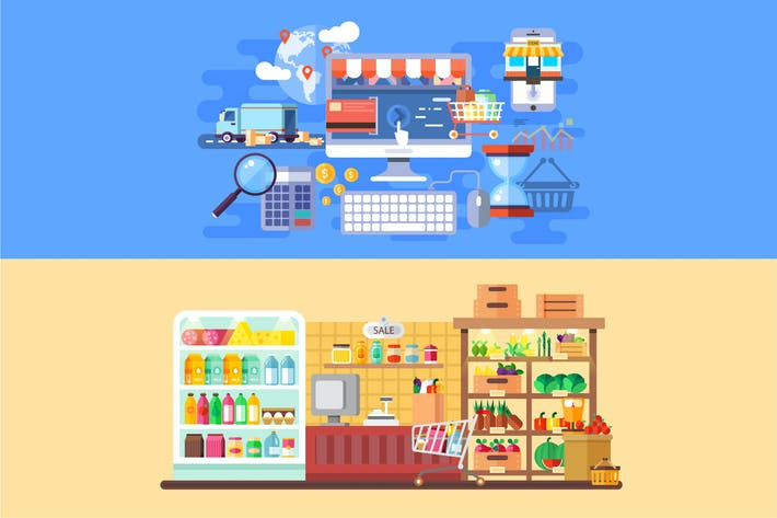 Thumbnail for Supermarket and E-commerce Banners