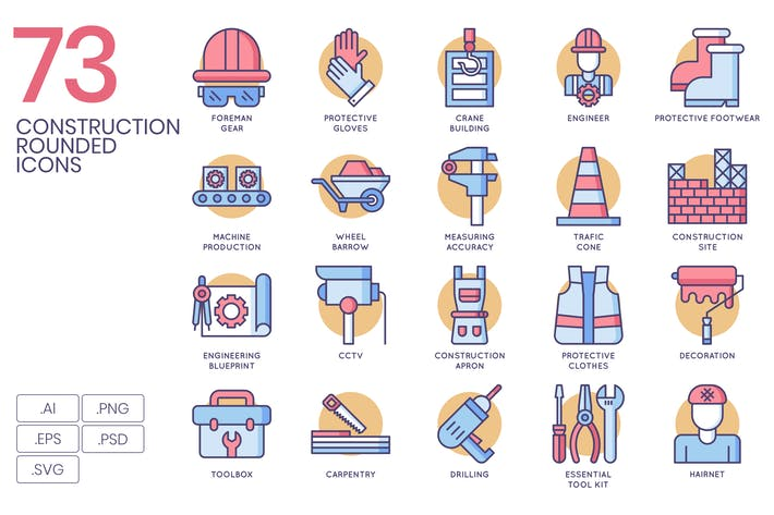 Cover Image For 73 Construction Icons