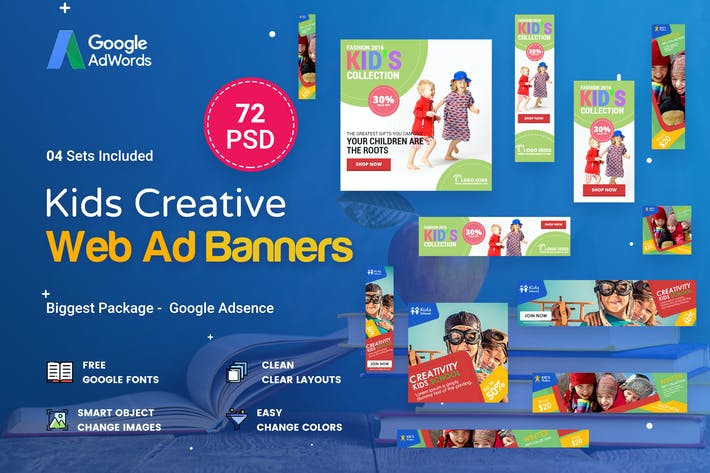 Thumbnail for Kids Creative & School Banners Ad - 72 PSD