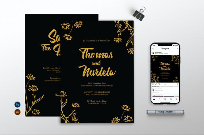 Thumbnail for Wedding Invitation - Flyer, & Instagram AS