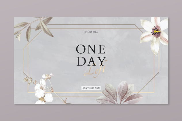 Floral One Day Left advertisement banner template