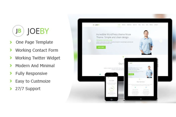 Thumbnail for Joeby - Clean One Page Business Template