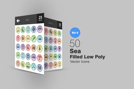 50 Sea Filled Low Poly Icons