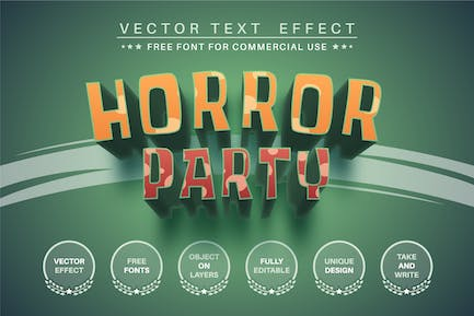 Horror party - editable text effect, font style