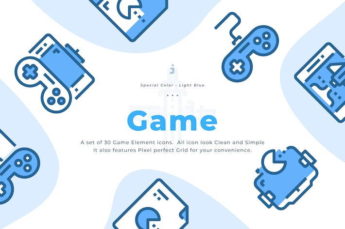 Thumbnail for 30 Game Element Icons - Light Blue