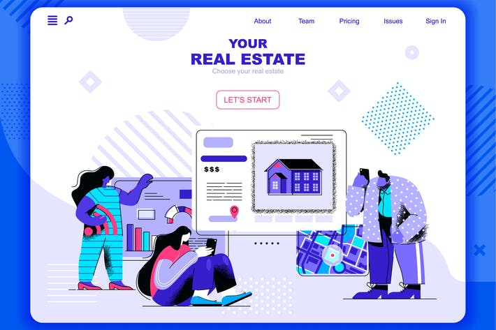 Thumbnail for Real Estate Flat Concept Landing Page Header