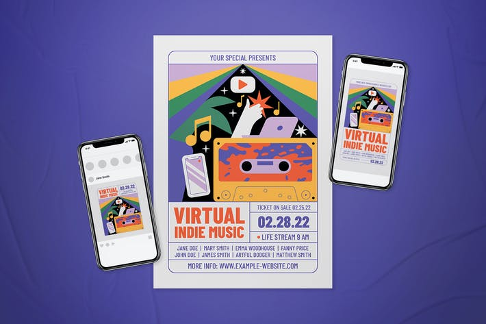 Thumbnail for Virtual Indie Music Flyer Set