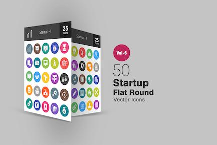50 Startup Glyph Multicolor BG Icons