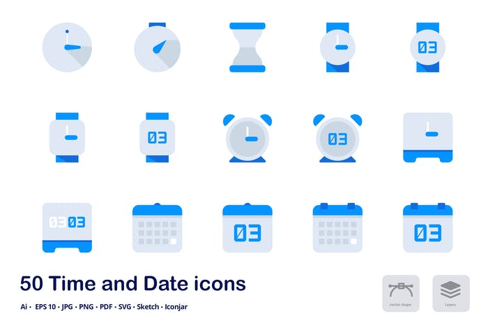 Cover Image For Time and Date Accent Duo Tone Flat Icons