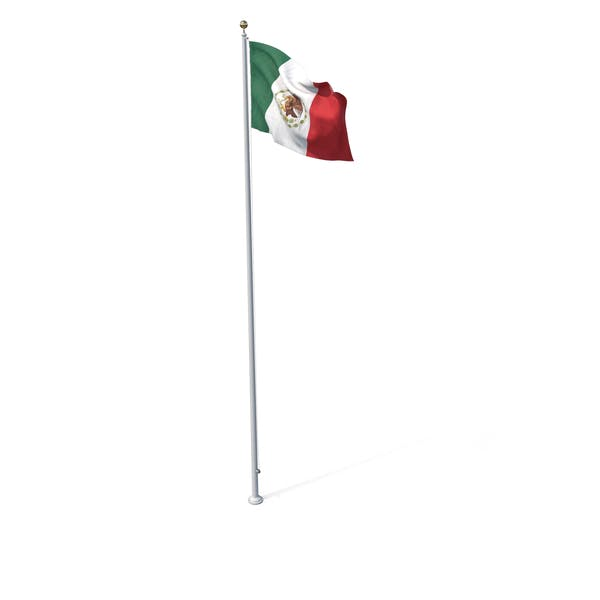 Flag On Pole Mexico