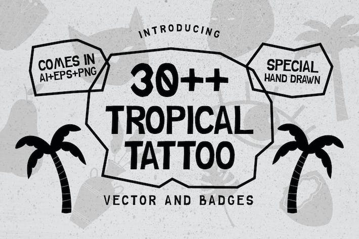 Thumbnail for 30++ Tropical Tattoo Vector & Abzeichen