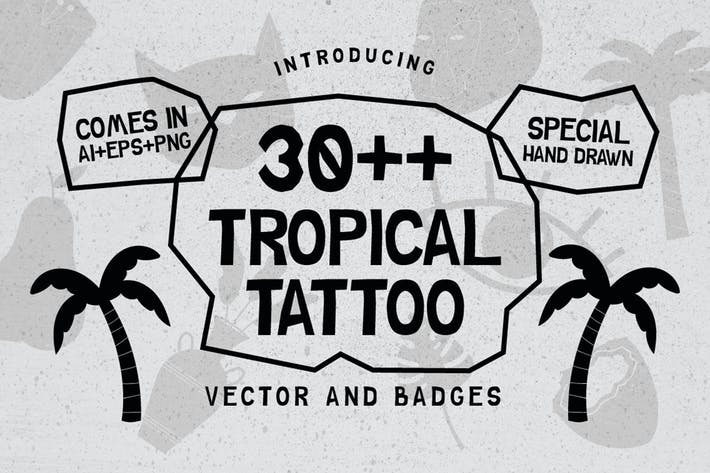 Thumbnail for 30++ TROPICAL TATTOO VECTOR & BADGES
