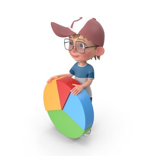Cartoon Boy Harry With Pie Chart
