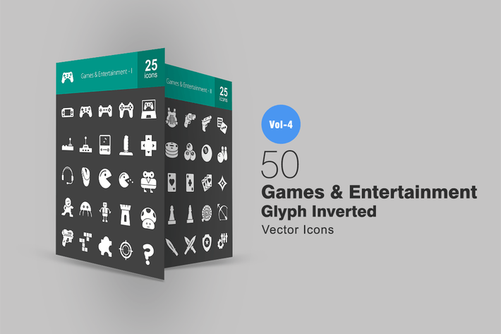 Thumbnail for 50 Games & Entertainment Glyph Inverted Icons