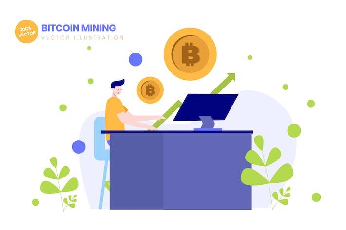 Майнинг Bitcoin Crypto Плоская Вектор иллюстрация