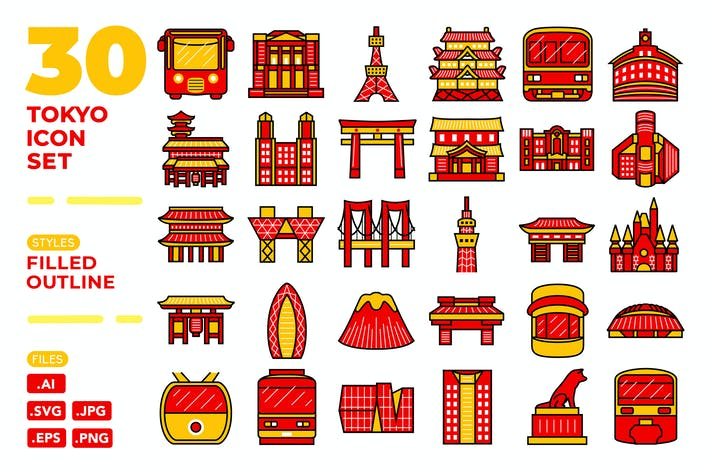 Cover Image For Tokyo Icon Set (Filled Outline)