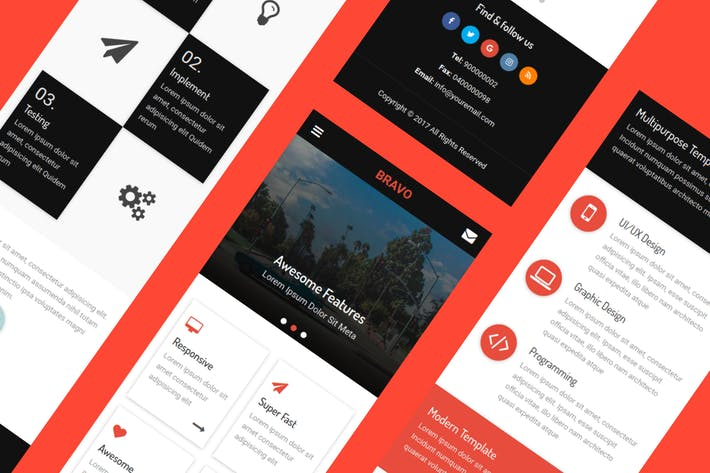 Thumbnail for Bravo - HTML Mobile Template