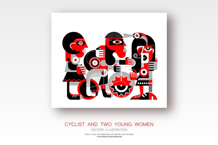 Thumbnail for Cyclist and Two Women red and black vector artwork