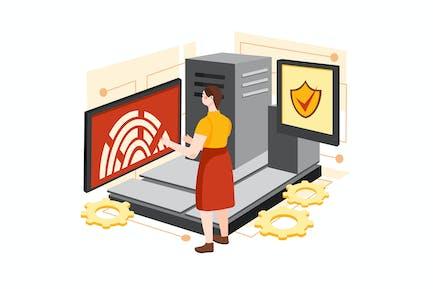 Digital Security Access Illustration Concept