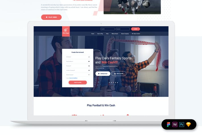 Thumbnail for Football Fantasy - Landing Page Template