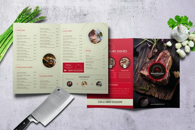 Meat Atelier Bifold A4 & US Letter Food Menu