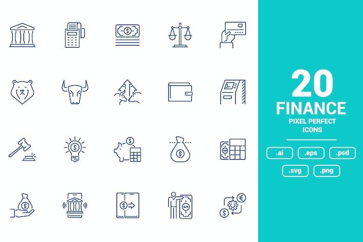 Thumbnail for Diseño de Íconos de línea plana - Finanzas