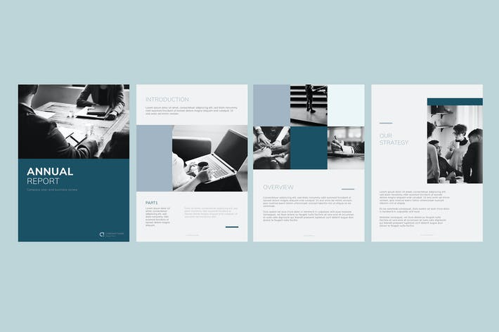 Thumbnail for Blue business annual report template vectors set