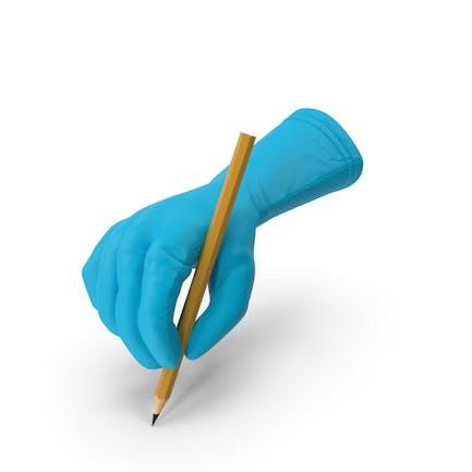 Guante médico sosteniendo un lápiz