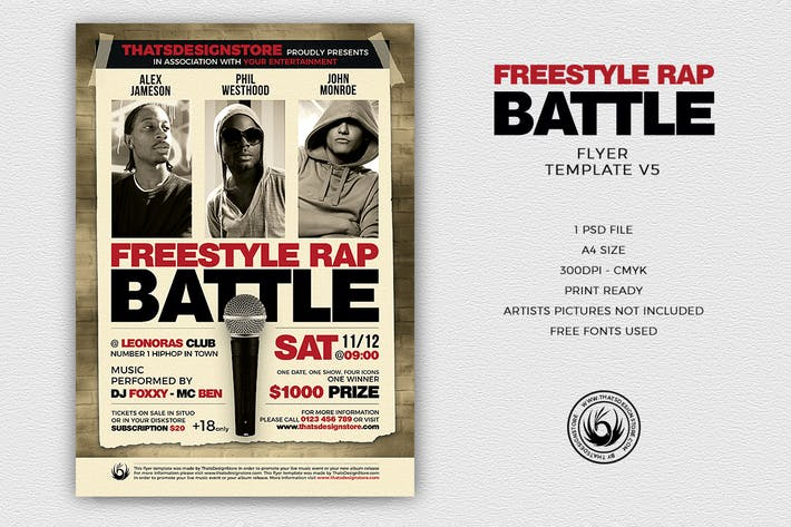 Download 30 karaoke graphic templates envato elements thumbnail for freestyle rap battle flyer template v5 reheart Gallery