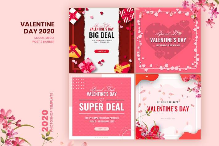 Thumbnail for Valentine Social Media Post & Banner Vorlage