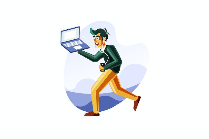 Thumbnail for Man running while carrying the laptop