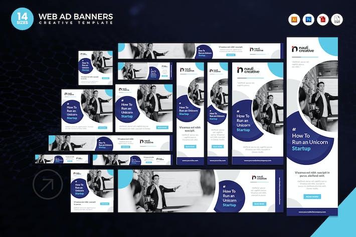 Thumbnail for 14 Unicorn Technology Startup Web Ad Banners Set