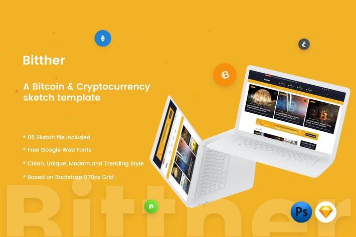 Thumbnail for Bitther - Cryptocurrency Magazine Sketch Template