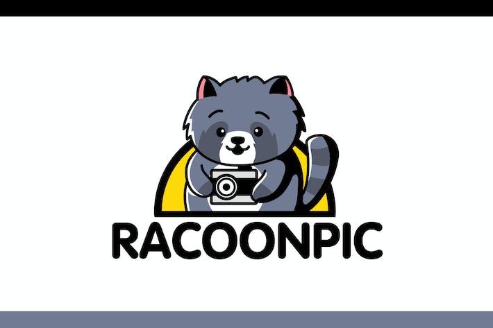 Thumbnail for Cartoon Racoon Holding Camera Mascot Logo