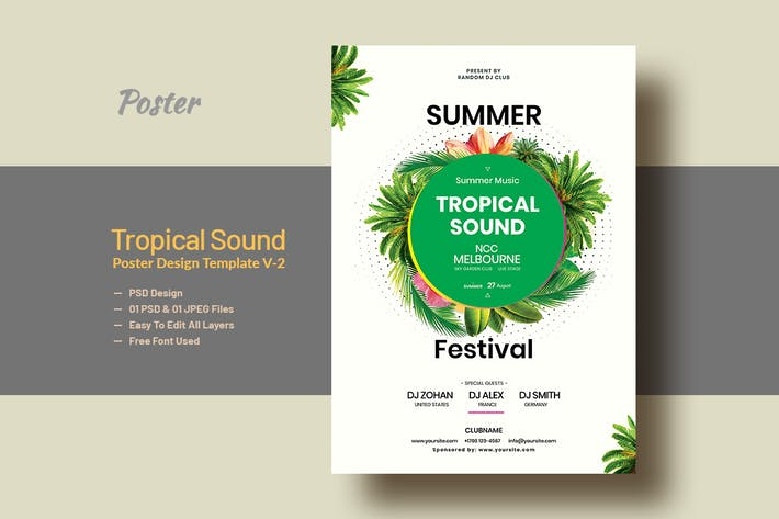 Thumbnail for Summer & Tropical Sound Party Poster Template V-2