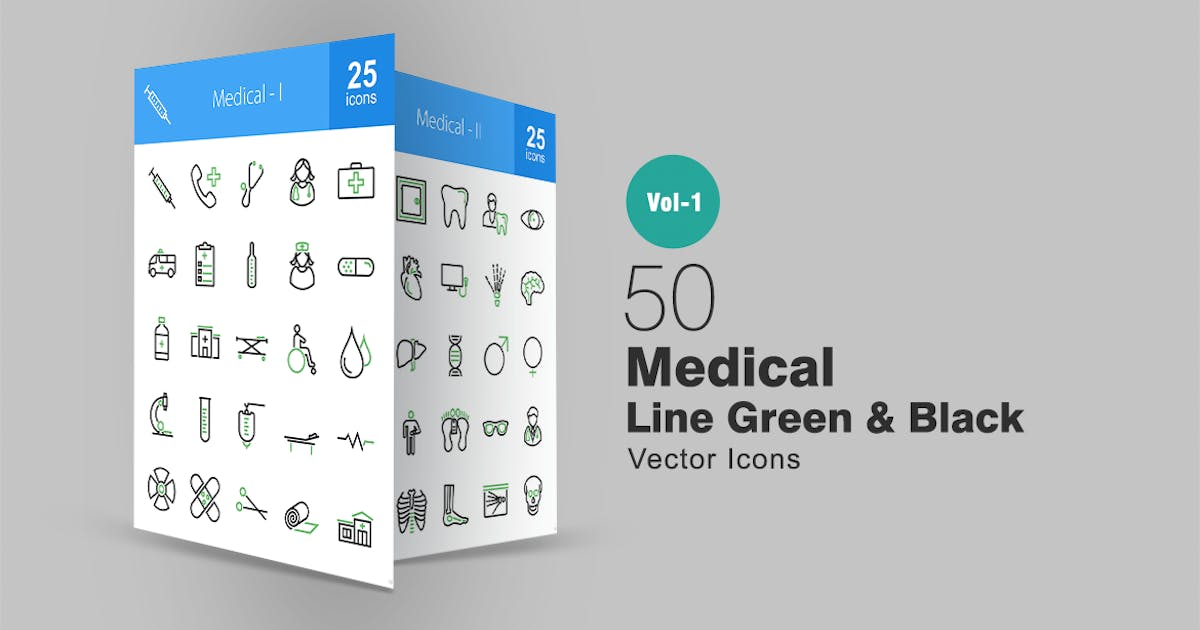Download 50 Medical Line Green & Black Icons by Unknow