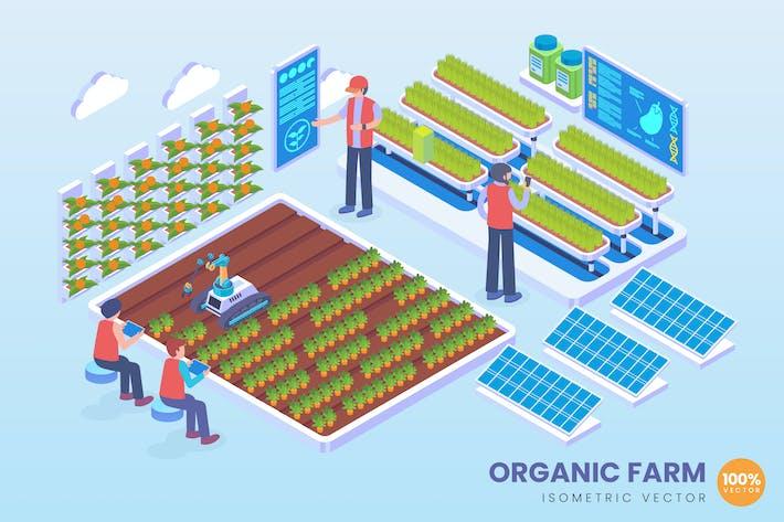 Thumbnail for Concepto Vector de tecnología de granja orgánica isométrica