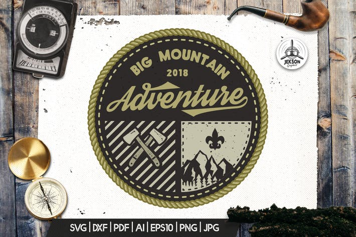 Thumbnail for Mountain Camp Logo, Vintage Adventure Badge Patch