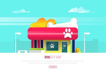 Bowl Pet Shop - Vector Landscape & Building
