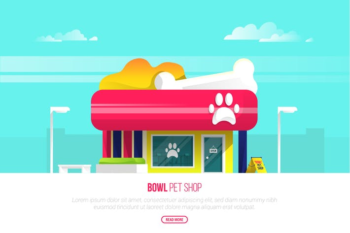 Thumbnail for Bowl Pet Shop - Vector Landscape & Building
